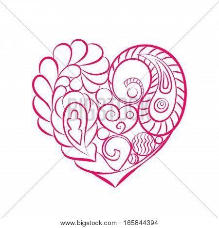 Valentines Day card. Heart with floral ornament swirls and paisley