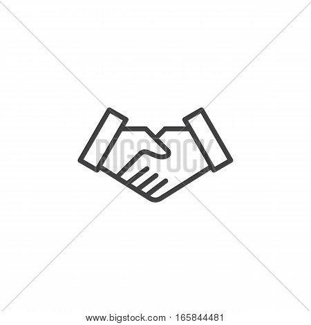 Handshake deal line icon outline vector sign linear pictogram isolated on white. Business partnership symbol logo illustration