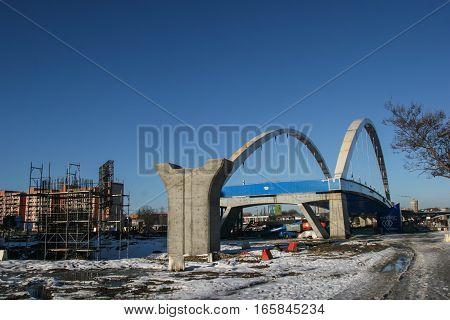 Bucharest Romania December 26 2009: The construction site of a bridge in Bucharest.