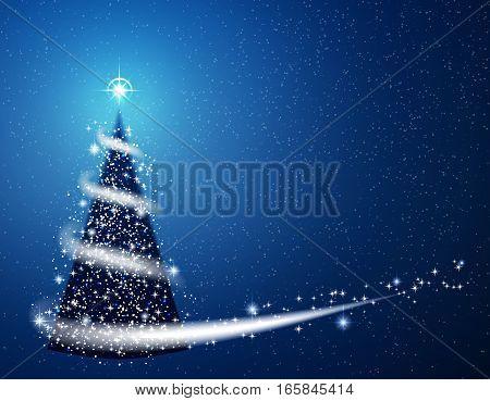 Blue Christmas tree blizzard snowflakes stars background.