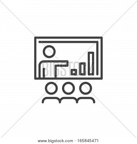 Business presentation line icon outline vector sign linear pictogram isolated on white. Symbol logo illustration