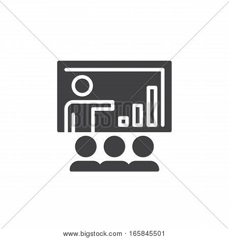 Business presentation icon vector filled flat sign solid pictogram isolated on white. Symbol logo illustration