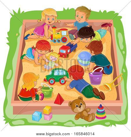 Vector illustration of many young boys and girls sitting in the sandbox, play their toys