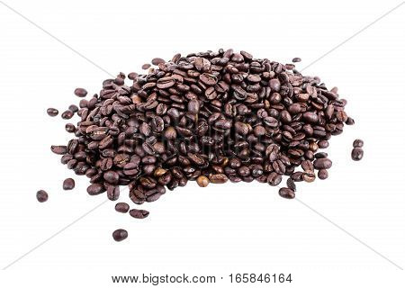 Bunch Of Fresh Roasted Coffee Beans On White Background