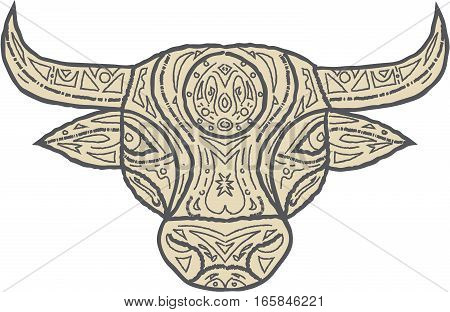 Mandala style illustration of a bull cow head viewed from front set on isolated white background.