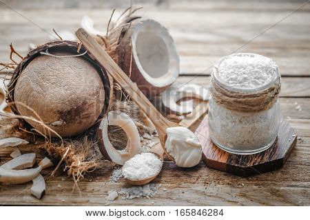 Still Life With Coconut On A Wooden Background