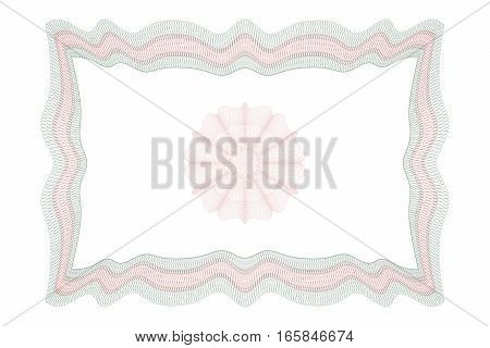 Guilloche square frame with thin line contour isolated on white background. It can be used as a protective layer for certificate voucher currency note check ticket reward etc