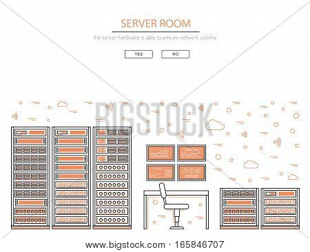 Vector high tech internet data center. Network equipment that is used to organize the server room