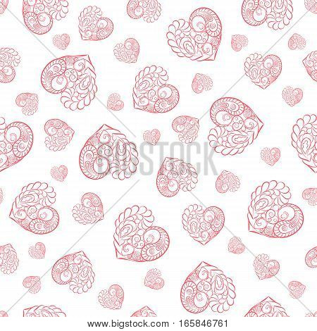 Valentine's day seamless pattern with red hearts. Valentines day background for invitation. Endless texture can be used for printing onto fabric paper or scrapbooking