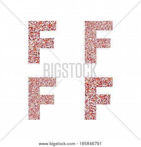 Alphabet letter F with red heart on Valentine's Day. Valentine`s Day Alphabet of Hearts. Love ABC