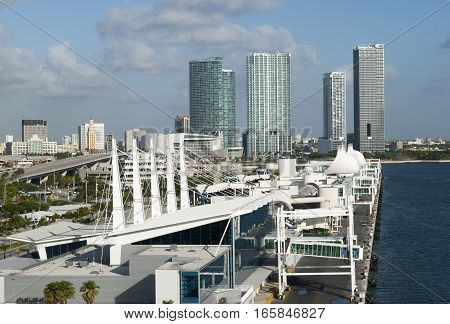 The view of the port terminal with Miami downtown in a background (Florida).