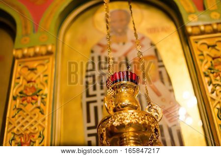 The lamp before the icon to the Russian Orthodox Church. Icon-lamp. Shallow depth of field