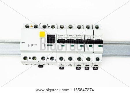 The residual-current device and circuit breaker on the white background