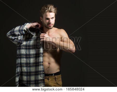 Sexy Naked Man Wear Shirt