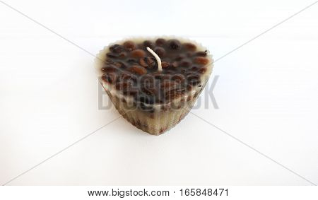 Candle heart filled with aromatic coffee handmade