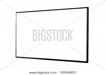 Side view of modern blank high definition LCD flat screen TV monitor isolated on white background