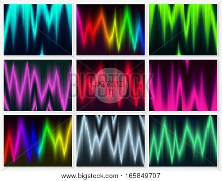 Graphic lines backgrounds set. Glitch abstract textures collection. Futuristic motion waves. Glowing colorful vector backgrounds for web design modern printed products.