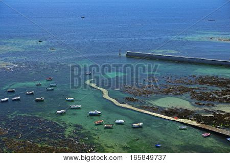 Boats view from Phare d'Eckmuehl Finistere Brittany France