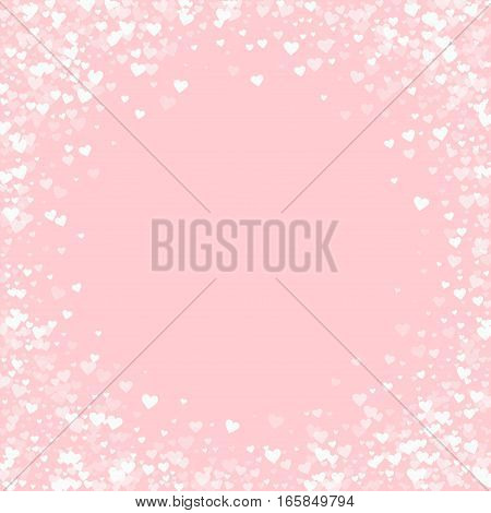 White Hearts Confetti. Bordered Frame On Pale_pink Valentine Background. Vector Illustration.
