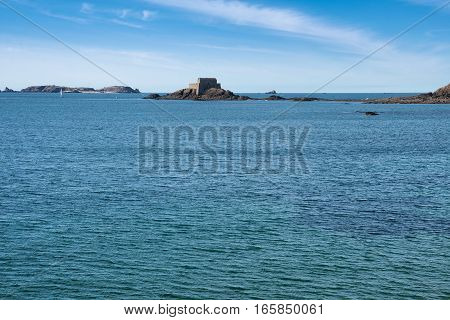 Petit Be castle surrounded by water, Saint-Malo, Bretagne France