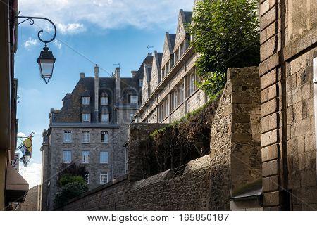 Saint-Malo stone houses with long flues, Bretagne France