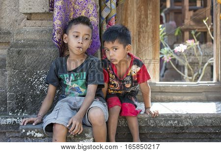 Bali Indonesia September 10th 2016: balinese children outside their home