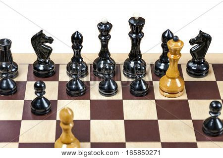 The chess pieces are placed on the chessboard. Placement of combination children's mate