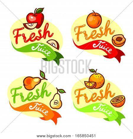 Colorful fresh juice emblems set, vector illustration for your design.