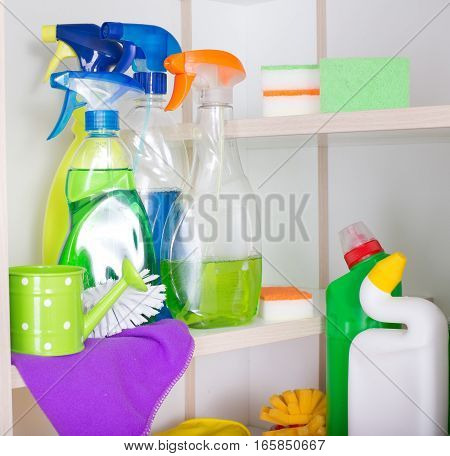 Cleaning Tools And Products In Storage Place