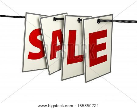 3D Illustration Of Lables With Letters Sale On White Background