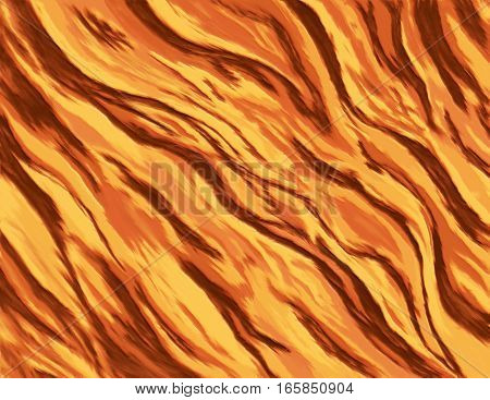 flame pattern illustration - an abstract digital painting of a burning fire in strong orange and yellow colors. A drawing of chaotic waves of flames resembling a bursting explosion.