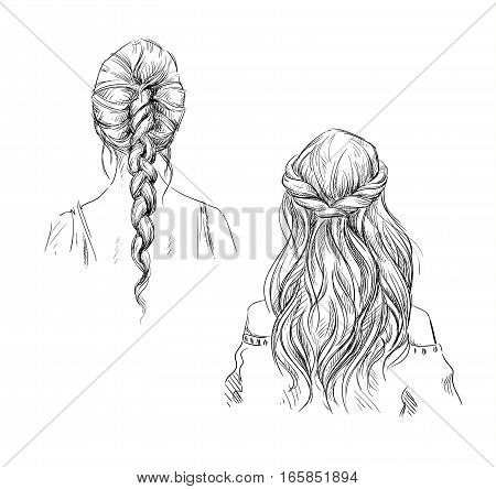 Braids. Hairstyle. Vector fashion illustration, hand drawn