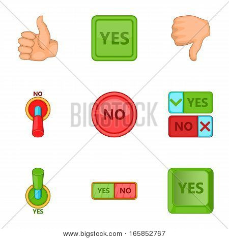 Right and wrong signs icons set. Cartoon illustration of 9 right and wrong signs vector icons for web