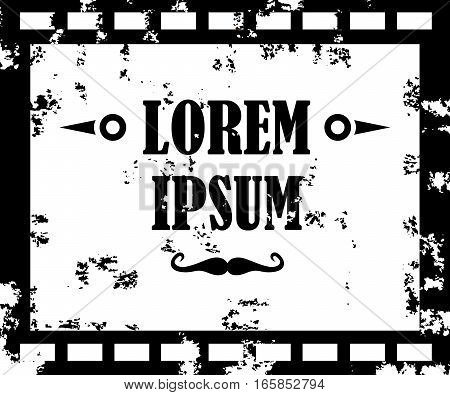 Monochrome old film, movie, filmstrip banner for your design. Editable grunge film frame background with space for your text or image. Vector illustration