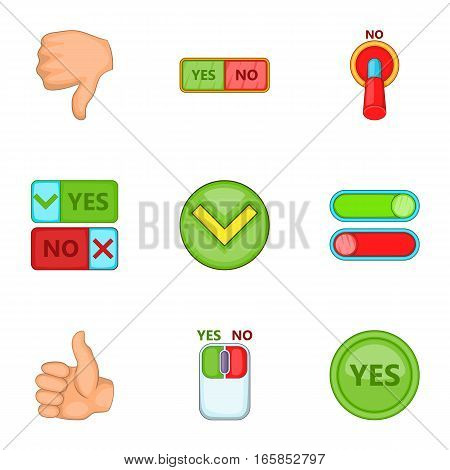 Check mark icons set. Cartoon illustration of 9 check mark vector icons for web