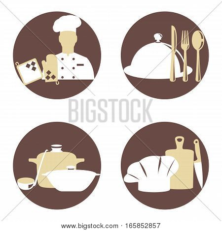 Vector illustration of cook and kitchenware icon set