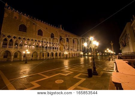 Palazzo ducale in Venice, Italy at night