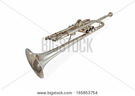 Wind Instrument - laying brass trumpet isolated on white background