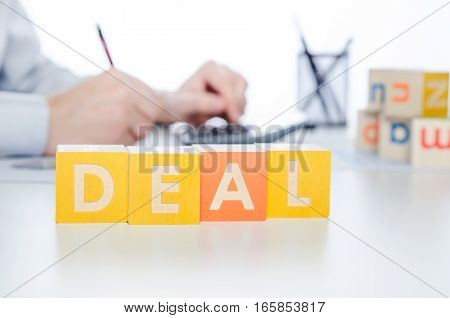 Deal Word With Colorful Blocks