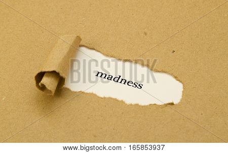 Madness word written under torn paper .