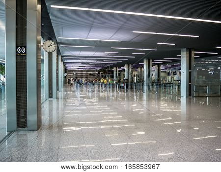 KRAKOW POLAND - SEPTEMBER 13 2016: New modern airport Terminal 1, second floor, in Balice Krakow, Poland with gates passengers and security check