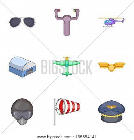 Flight icons set. Cartoon illustration of 9 flight vector icons for web