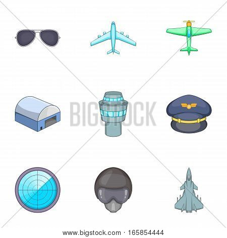 Flight elements icons set. Cartoon illustration of 9 flight elements vector icons for web