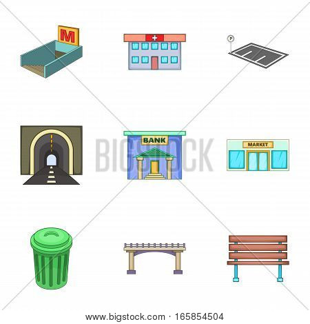 Urban infrastructure icons set. Cartoon illustration of 9 urban infrastructure vector icons for web