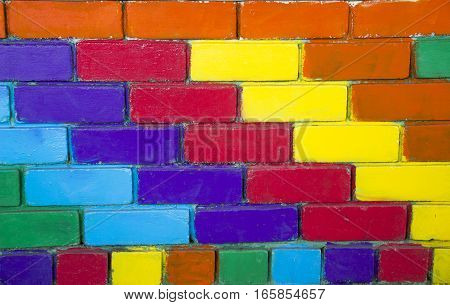 Close-up of brick wall painted at rainbow colours