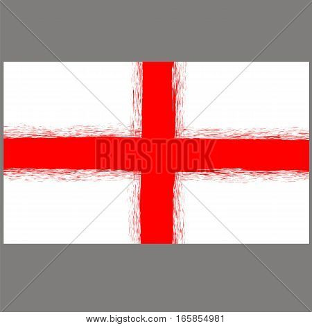 English St. George Flag on Grey Background.