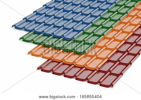 Colored Metal Roof Tiles 3D rendering isolated on white background