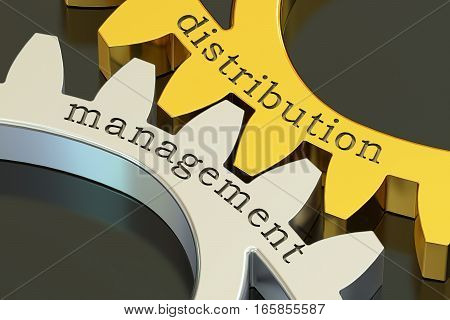 distribution management concept on the gearwheels 3D rendering