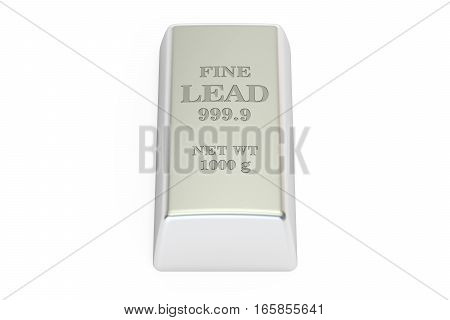lead ingot 3D rendering isolated on white background