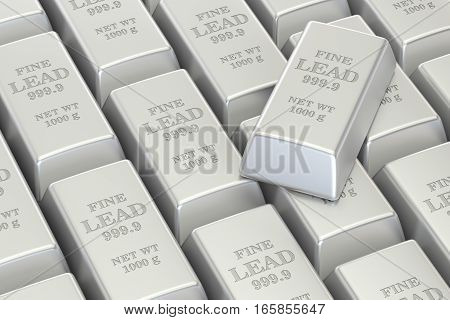 lead ingots background 3D rendering isolated on white background